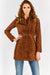 Brown Suede Zip Up Coat