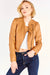 Tan Leather Collarless Jacket