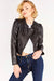 Black Leather Collarless Jacket