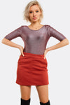 Red Textured Skirt