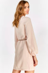 Pale Pink Loose Fit Long Sleeved Dress