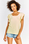 Pale Yellow Wavy Sleeve Top