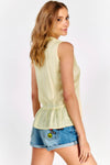 Pale Yellow Sleeveless Peplum Hem Top