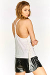 White Slogan Vest Top