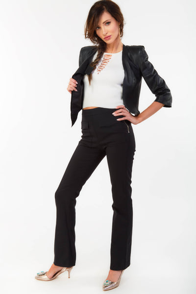 Black High Waisted Zip Trousers