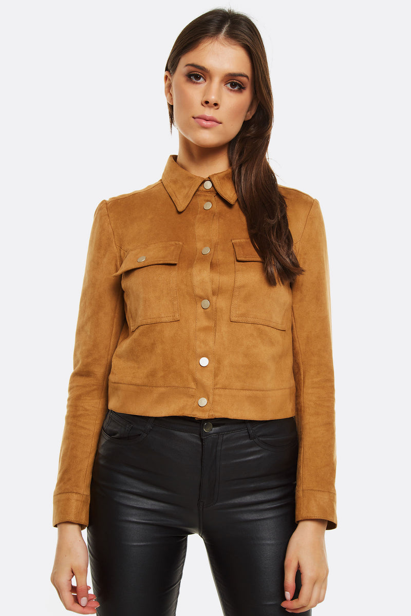Light Brown Faux Suede Jacket