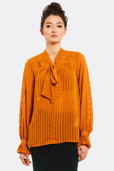 Orange Blouse With Bow
