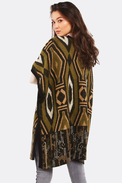 Multicolour Patterned Poncho