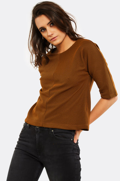 Brown Striped Blouse With 3/4 Sleeves