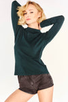 Green Textured High Neck Top