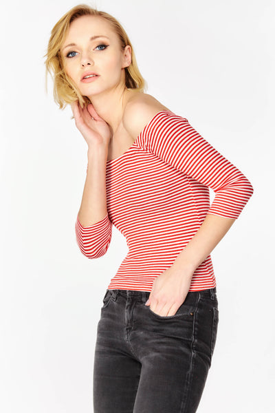 Red Striped Bardot Top