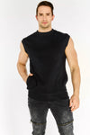Black High Neck Sleeveless Sweatshirt
