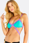 Turquoise And Purple Bikini Top