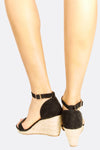 Black Wide Strap Wedge Sandals