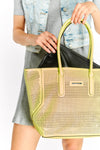 Yellow Shopping Bag With Removable Black Pouch