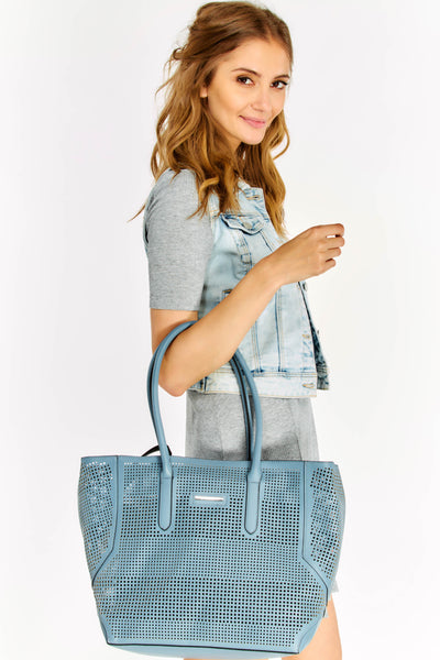Blue Shopping Bag With Removable Black Pouch