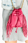 Small Bright Pink Bag With Fringes