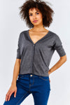 Grey Button Up Lightweight Cardigan