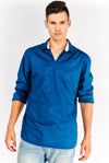 Navy Cotton Shirt Without Buttons