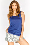 Blue Sleeveless Vest Top