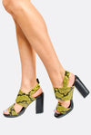Yellow Reptile Pattern Sandals
