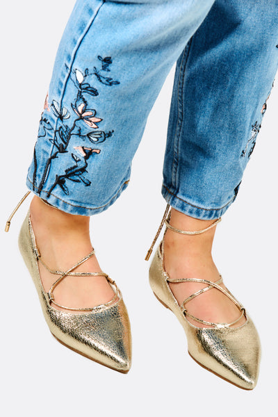 Gold Pointed Toe Flats With Strings
