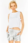 White Sleeveless Cropped Vest Top