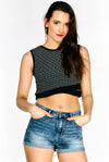 Black Patterned Sleeveless Crop Top