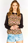 Brown Patterned Long Sleeve Blouse