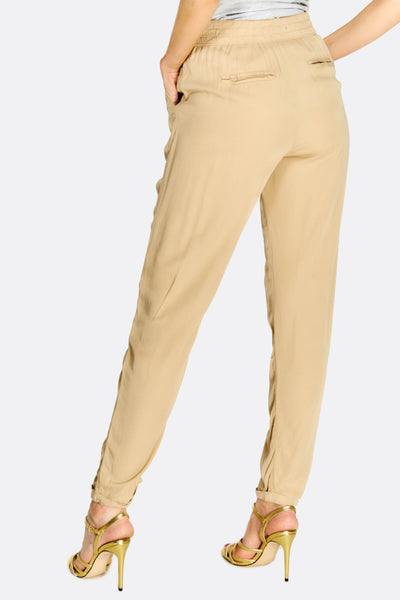 Sand Loose Fit Cigarette Trousers