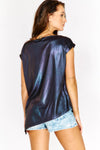 Metallic Roll Sleeve Top