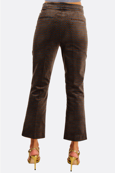 Brown Patterned Ankle Grazer Trousers