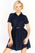 Navy Blue Button Front Dress
