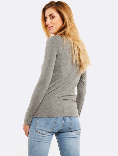 Grey Turtleneck Blouse