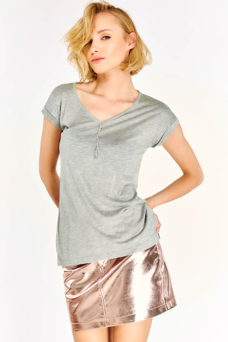 Grey V Neck T-Shirt