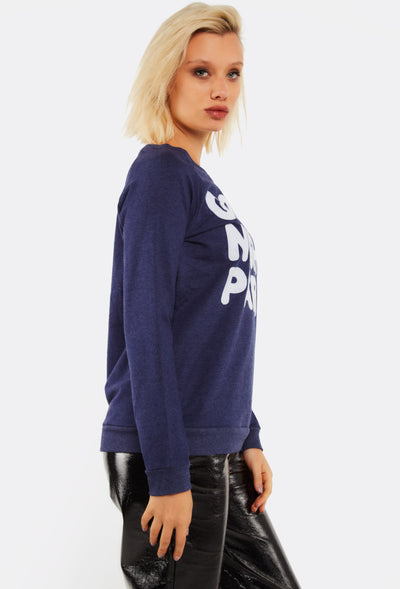 Navy Sweatshirt With Text Print