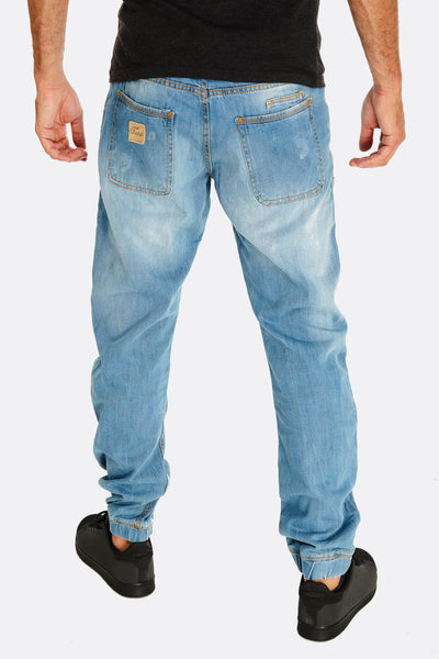 light blue jeans with drawstring through waist