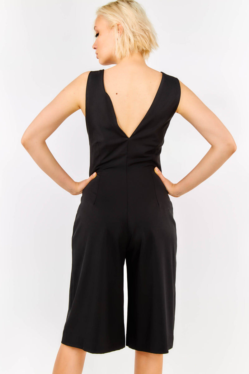 Black Sleeveless V Neck Elegant Jumpsuit