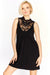 Black Lace Neck Sleeveless Dress