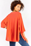 Red Oversized 3/4 Sleeve Cardigan