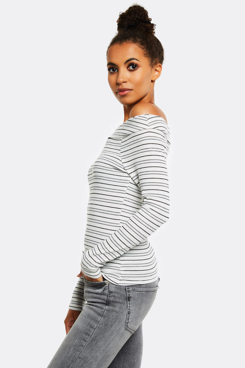 White Striped Off Shoulder Blouse