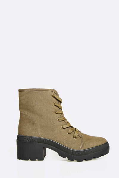 Military Green Ankle Boots With Block Heel