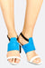 White And Blue Wide Strap Heeled Sandals