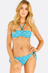 Blue Patterned Two Piece Bikini Set