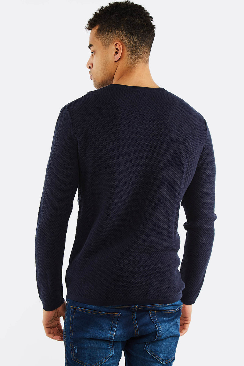 Navy Jumper With Chest Pocket