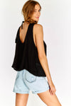 Black Flowy Top With Embroidered Hem