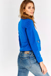 Blue Zip Pocket Cropped Jacket