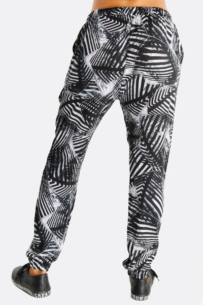 Black And White Print Loose Fit Pants