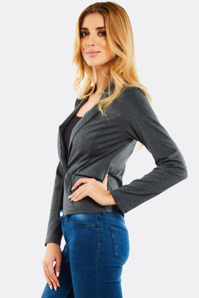 Grey One Button Blazer