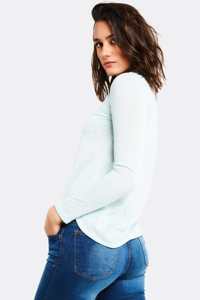 Pale Blue Blouse With Round Hem